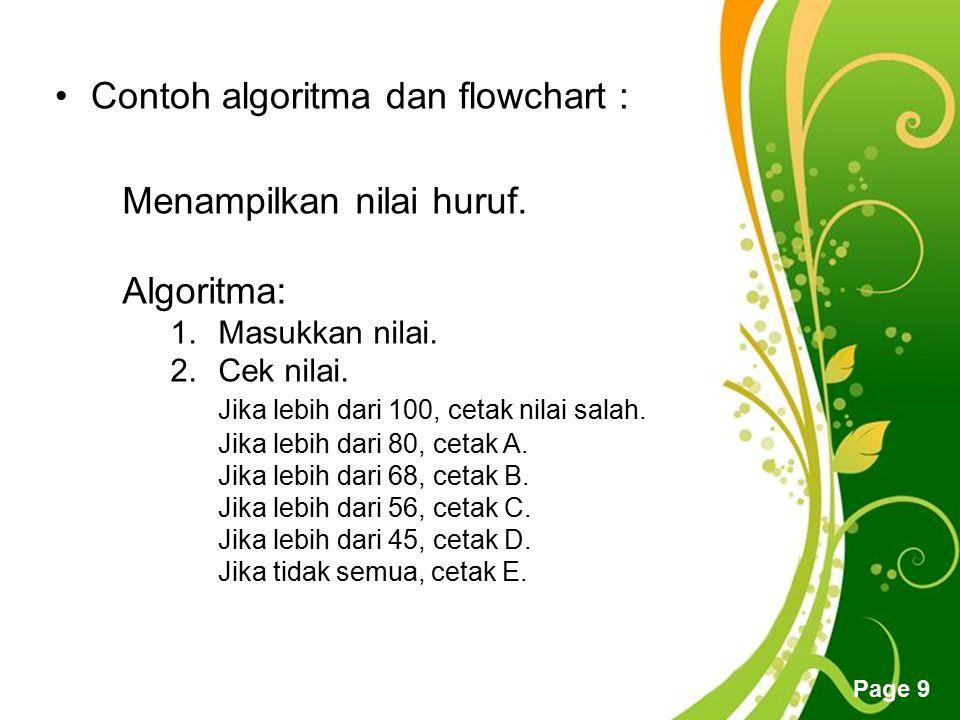 Free Powerpoint Templates Page 9 Contoh algoritma dan flowchart : Menampilkan nilai huruf. Algoritma: 1.Masukkan nilai. 2.Cek nilai. Jika lebih dari 1