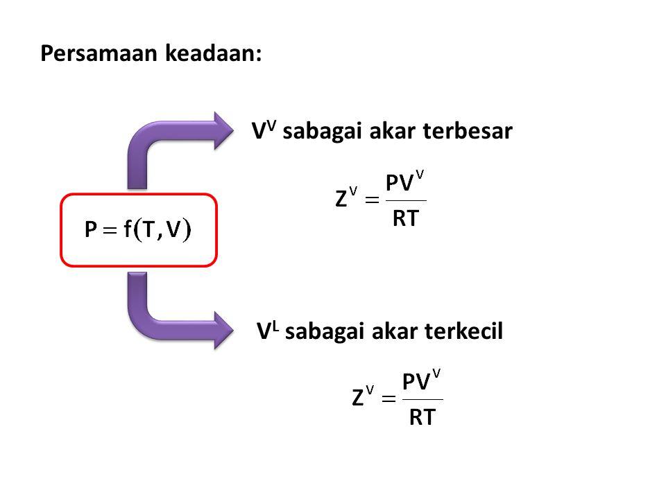 Persamaan keadaan: V V sabagai akar terbesar V L sabagai akar terkecil