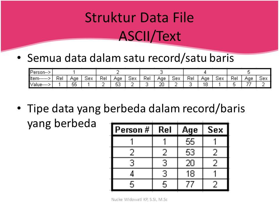 Struktur Data File ASCII/Text Semua data dalam satu record/satu baris Tipe data yang berbeda dalam record/baris yang berbeda Nucke Widowati KP, S.Si,