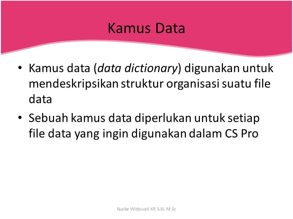 Kamus Data Kamus data (data dictionary) digunakan untuk mendeskripsikan struktur organisasi suatu file data Sebuah kamus data diperlukan untuk setiap