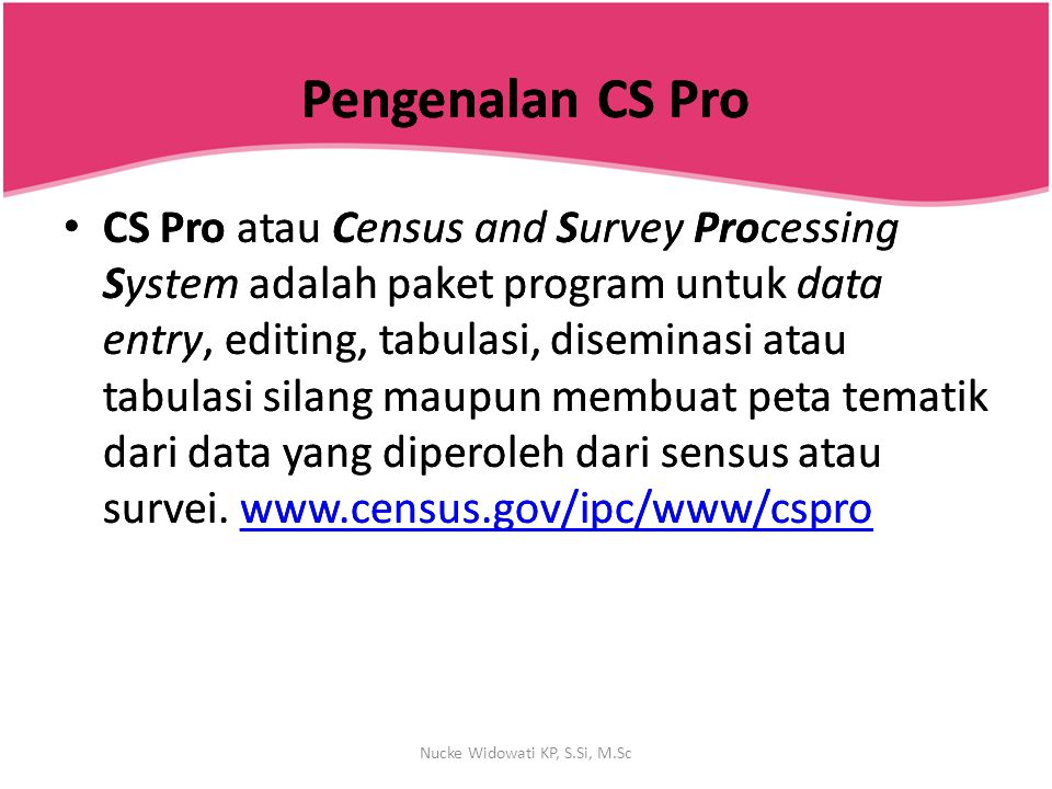Pengenalan CS ProPengenalan CS Pro CS Pro atau Census and Survey Processing System adalah paket program untuk data entry, editing, tabulasi, diseminas
