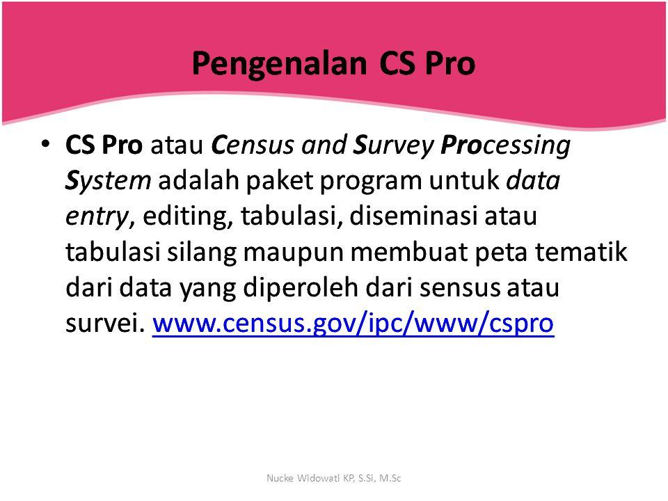 Pengenalan CS ProPengenalan CS Pro Penguna CS Pro adalah individu atau kelompok yang mengumpulkan, menganalisa dan mempubliksikan data hasil sensus atau survey.