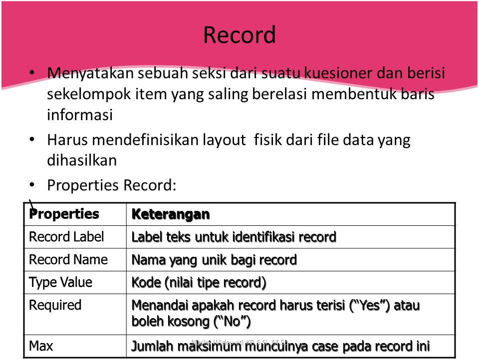 Record Menyatakan sebuah seksi dari suatu kuesioner dan berisi sekelompok item yang saling berelasi membentuk baris informasi Harus mendefinisikan lay