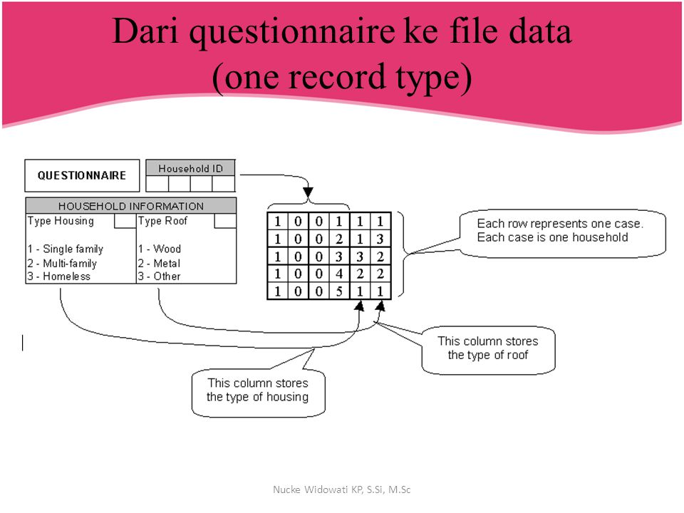 Dari questionnaire ke file data (one record type) Nucke Widowati KP, S.Si, M.Sc