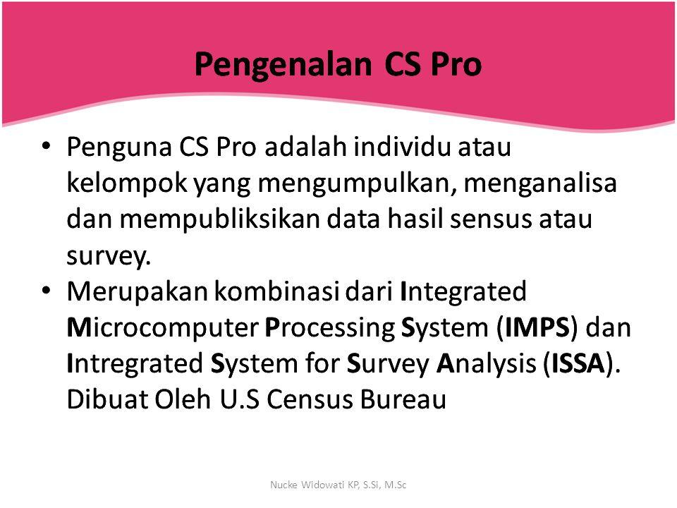 Terminologi Data File/ Pengolahan Data Item/variable/field Record Questionnaire (Case) Data file Nucke Widowati KP, S.Si, M.Sc