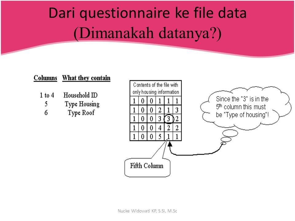 Dari questionnaire ke file data (Dimanakah datanya?) Nucke Widowati KP, S.Si, M.Sc