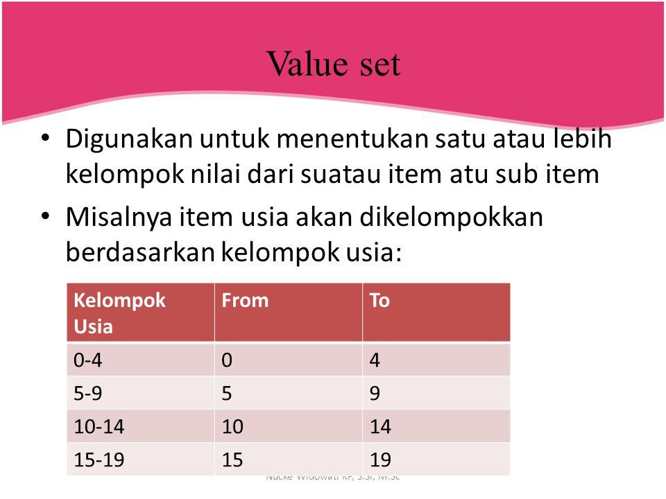Value set Digunakan untuk menentukan satu atau lebih kelompok nilai dari suatau item atu sub item Misalnya item usia akan dikelompokkan berdasarkan ke