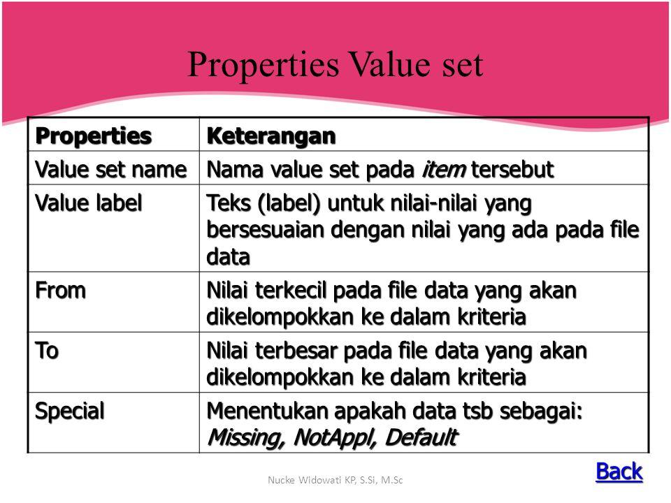 Properties Value set PropertiesKeterangan Value set name Nama value set pada item tersebut Value label Teks (label) untuk nilai-nilai yang bersesuaian