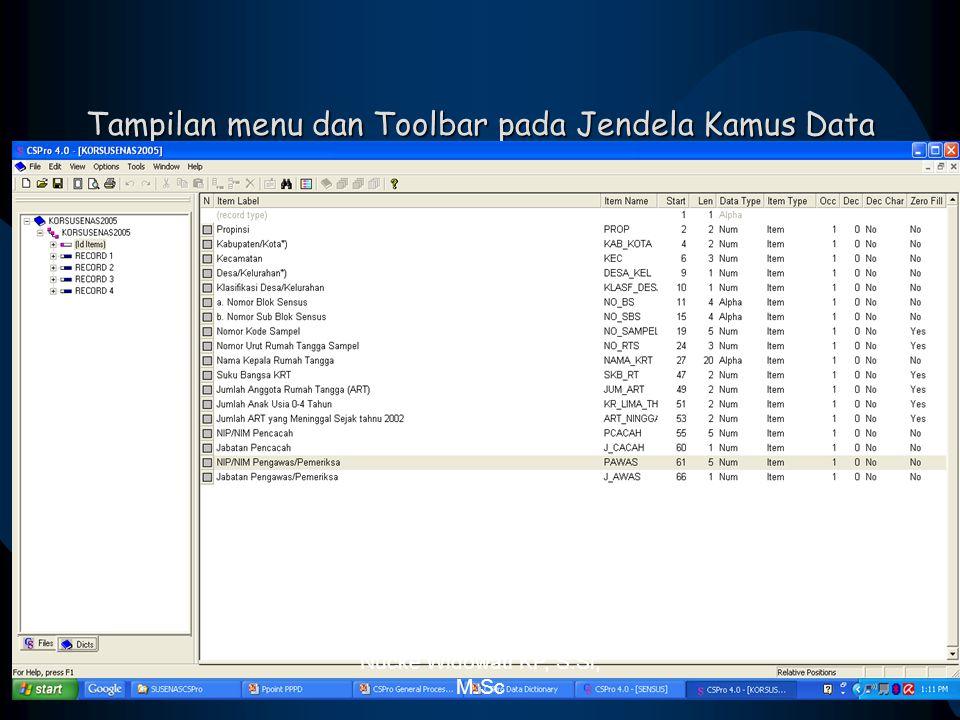 Tampilan menu dan Toolbar pada Jendela Kamus Data Nucke Widowati KP, S.Si, M.Sc