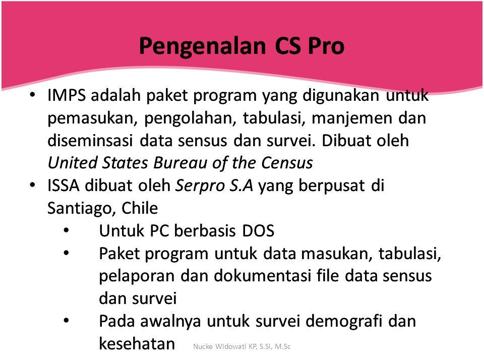 Kamus Data Kamus data (data dictionary) digunakan untuk mendeskripsikan struktur organisasi suatu file data Sebuah kamus data diperlukan untuk setiap file data yang ingin digunakan dalam CS Pro Nucke Widowati KP, S.Si, M.Sc