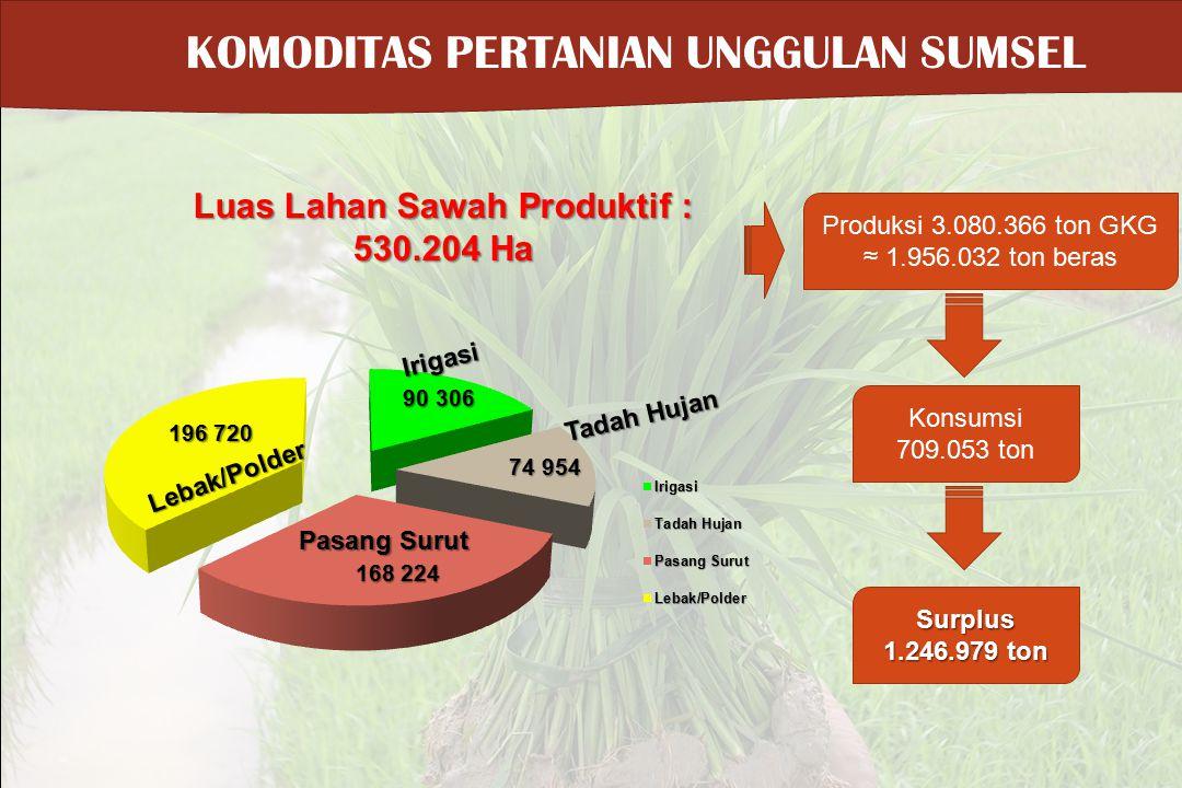 KOMODITAS PERTANIAN UNGGULAN SUMSEL Luas Lahan Sawah Produktif : 530.204 Ha Produksi 3.080.366 ton GKG ≈ 1.956.032 ton beras Konsumsi 709.053 ton Surp