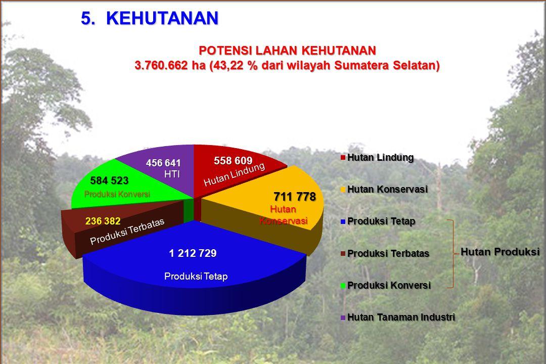 dA 5. KEHUTANAN Hutan Produksi POTENSI LAHAN KEHUTANAN 3.760.662 ha (43,22 % dari wilayah Sumatera Selatan) Produksi Tetap Produksi Konversi Hutan Kon