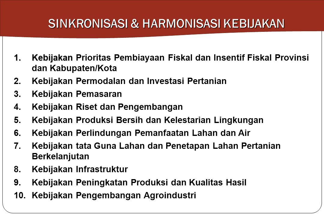 1.Kebijakan 1.Kebijakan Prioritas Pembiayaan Fiskal dan Insentif Fiskal Provinsi dan Kabupaten/Kota 2.Kebijakan Permodalan dan Investasi Pertanian 3.K