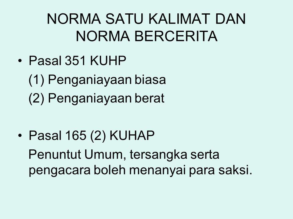 NORMA SATU KALIMAT DAN NORMA BERCERITA Pasal 351 KUHP (1) Penganiayaan biasa (2) Penganiayaan berat Pasal 165 (2) KUHAP Penuntut Umum, tersangka serta