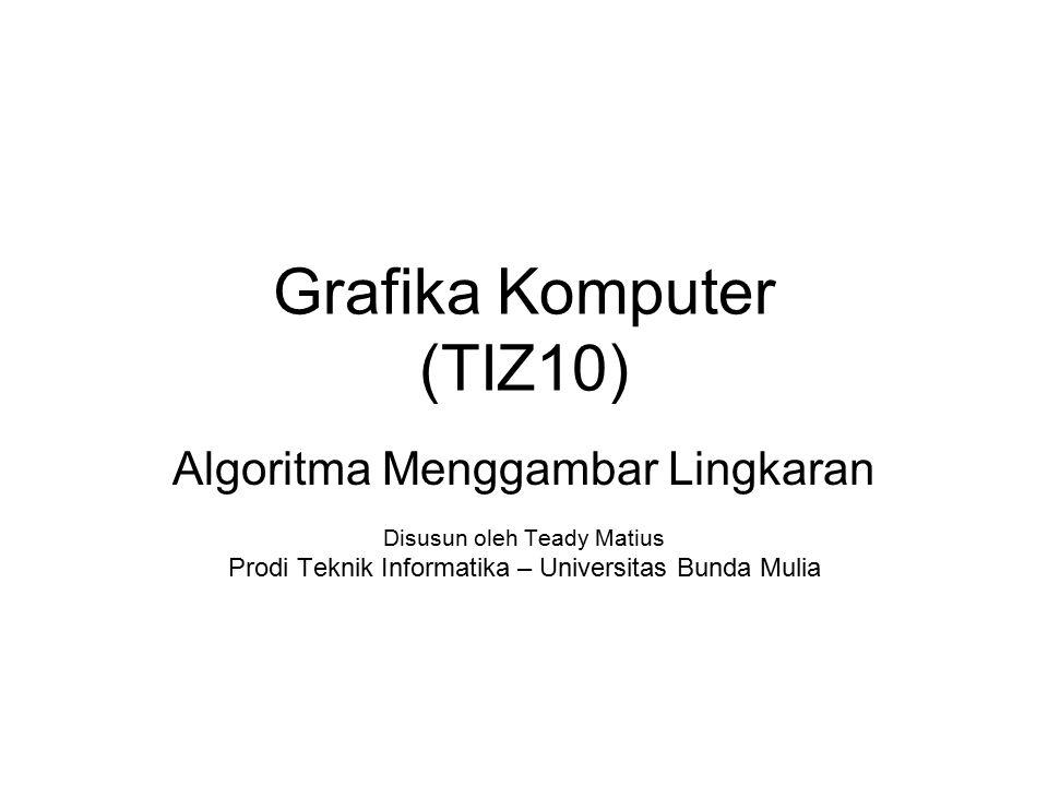 Grafika Komputer (TIZ10) Algoritma Menggambar Lingkaran Disusun oleh Teady Matius Prodi Teknik Informatika – Universitas Bunda Mulia