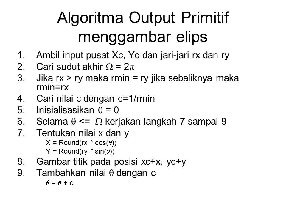 Algoritma Output Primitif menggambar elips 1.Ambil input pusat Xc, Yc dan jari-jari rx dan ry 2.Cari sudut akhir  = 2  3.Jika rx > ry maka rmin = ry