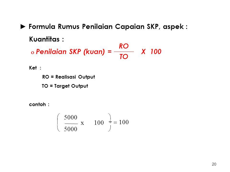 20 ► Formula Rumus Penilaian Capaian SKP, aspek : Kuantitas :  Penilaian SKP (kuan) = X 100 Ket : RO = Realisasi Output TO = Target Output contoh : RO TO       100 x 5000