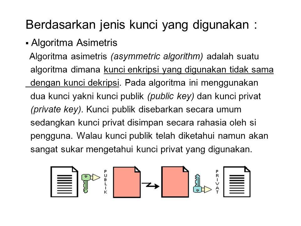 Berdasarkan jenis kunci yang digunakan :  Kelebihan algoritma asimetris :  Masalah keamanan pada distribusi kunci dapat lebih baik  Masalah manajemen kunci yang lebih baik karena jumlah kunci yang lebih sedikit  Kelemahan algoritma asimetris :  Kecepatan yang lebih rendah bila dibandingkan dengan algoritma simetris  Untuk tingkat keamanan sama, kunci yang digunakan lebih panjang dibandingkan dengan algoritma simetris.