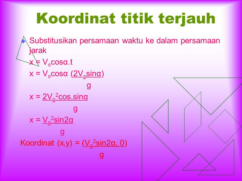 Titik tertinggi pada sumbu y  Substitusikan persamaan waktu untuk mencapai titik tertinggi ke dalam persamaan gerak perpindahan pada arah sumbu y. y