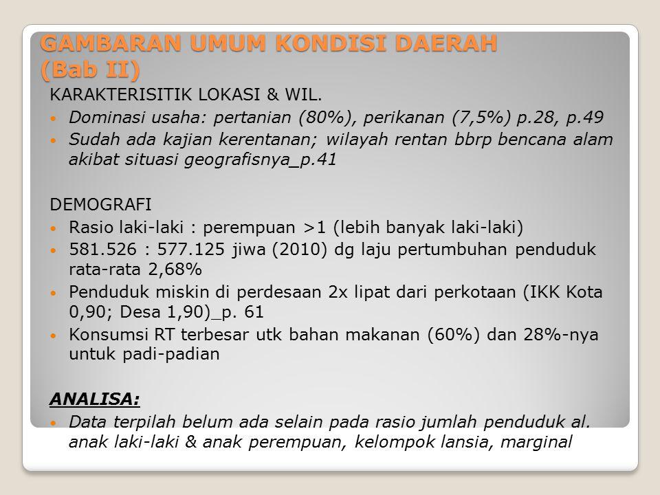 GAMBARAN UMUM KONDISI DAERAH (Bab II) KARAKTERISITIK LOKASI & WIL. Dominasi usaha: pertanian (80%), perikanan (7,5%) p.28, p.49 Sudah ada kajian keren