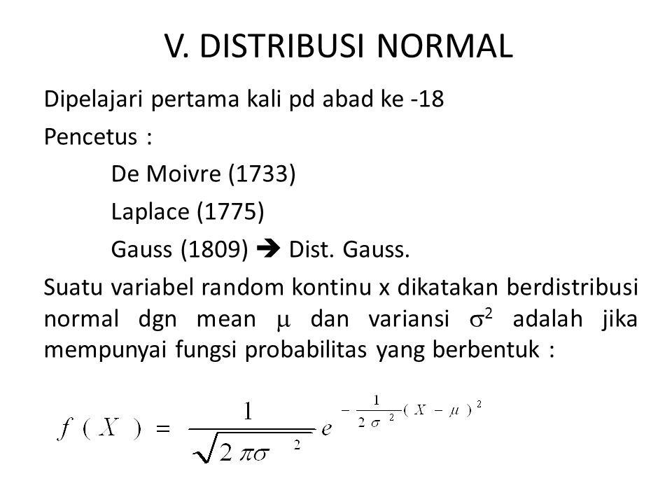 Untuk -  < x <  -  <  <   2 > 0 dan  = 3,14 dan e = 2,718 Sifat-sifat distribusi normal : 1.Harga modus, yaitu harga pada sumbu x dengan kurva maksimum terletak pada x =  2.Kurva normal simetris terhadap sumbu vertikal melalui  3.Kurva normal mempunyai titik belok pada x =  4.Kurva normal memotong sumbu mendatar secara asimtotis 5.Luas daerah dibawah kurva normal dan diatas sumbu mendatar sama dengan 1.