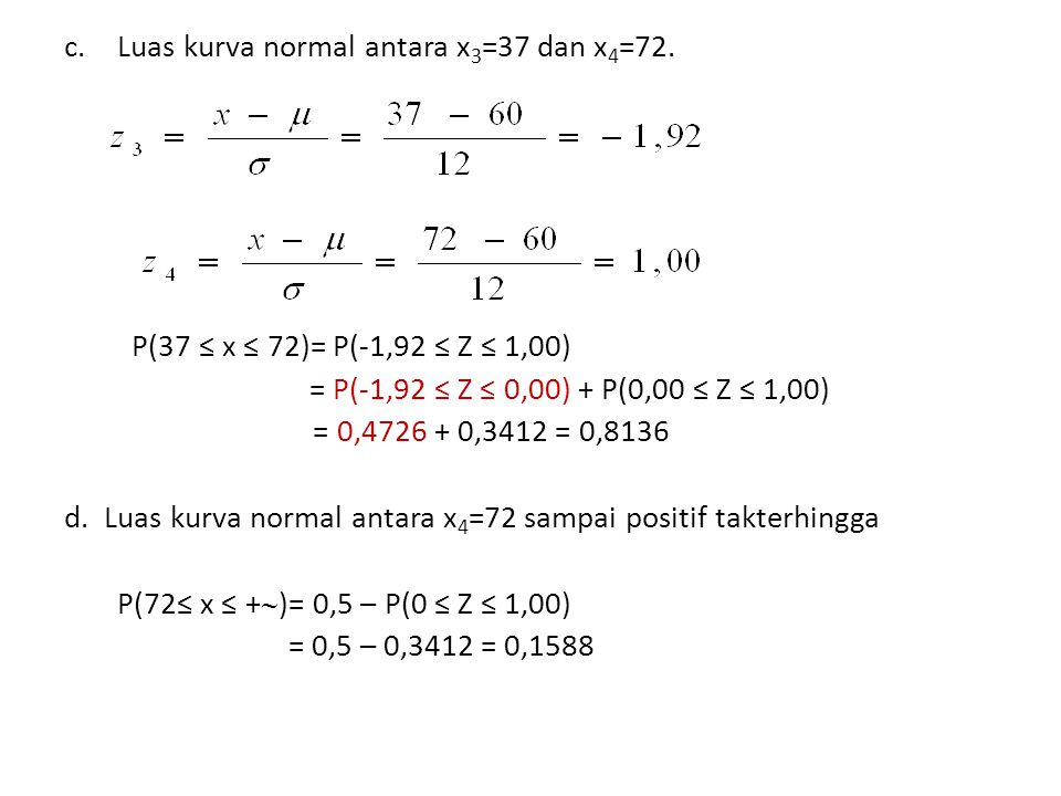 c.Luas kurva normal antara x 3 =37 dan x 4 =72. P(37 ≤ x ≤ 72)= P(-1,92 ≤ Z ≤ 1,00) = P(-1,92 ≤ Z ≤ 0,00) + P(0,00 ≤ Z ≤ 1,00) = 0,4726 + 0,3412 = 0,8