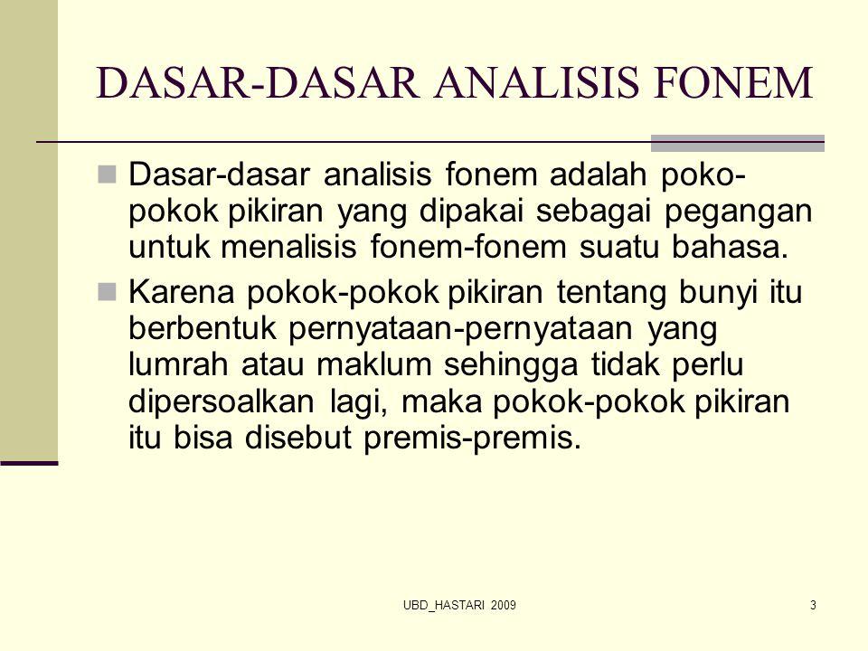 UBD_HASTARI 20093 DASAR-DASAR ANALISIS FONEM Dasar-dasar analisis fonem adalah poko- pokok pikiran yang dipakai sebagai pegangan untuk menalisis fonem