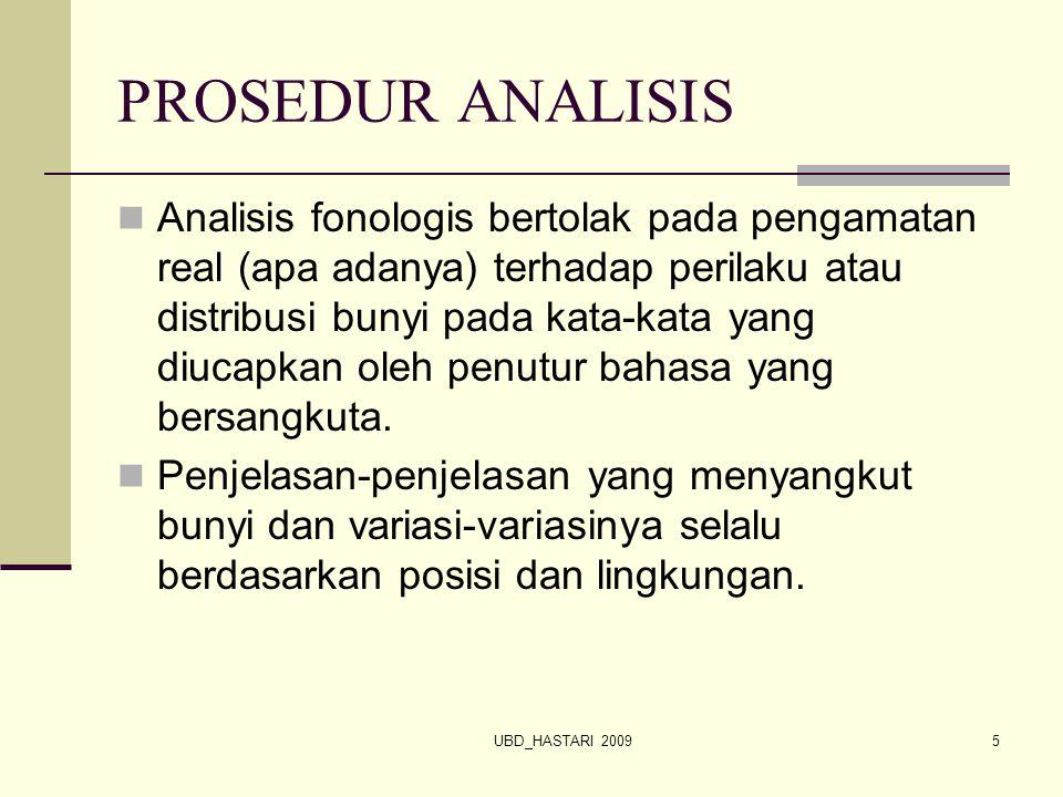 UBD_HASTARI 20095 PROSEDUR ANALISIS Analisis fonologis bertolak pada pengamatan real (apa adanya) terhadap perilaku atau distribusi bunyi pada kata-ka
