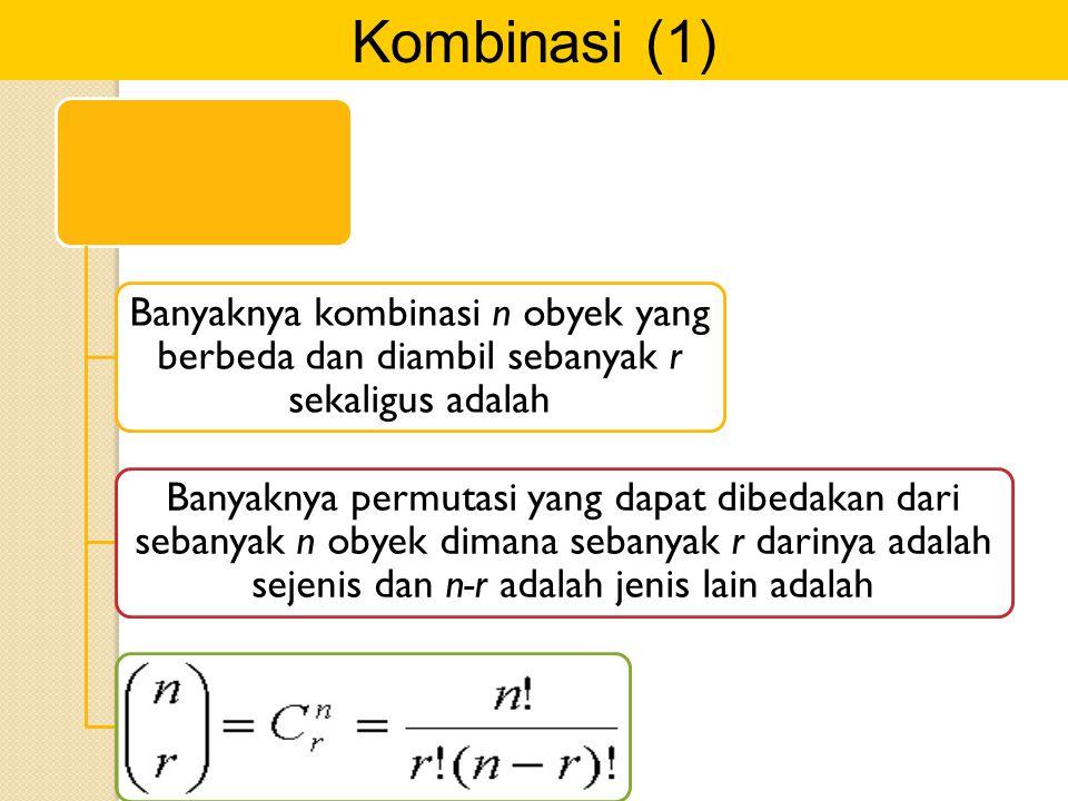Kombinasi (1) Banyaknya kombinasi n obyek yang berbeda dan diambil sebanyak r sekaligus adalah Banyaknya permutasi yang dapat dibedakan dari sebanyak