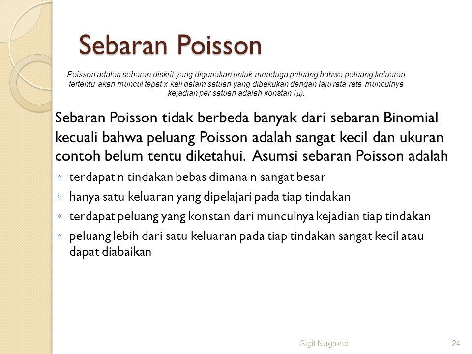 Sebaran Poisson Sebaran Poisson tidak berbeda banyak dari sebaran Binomial kecuali bahwa peluang Poisson adalah sangat kecil dan ukuran contoh belum t