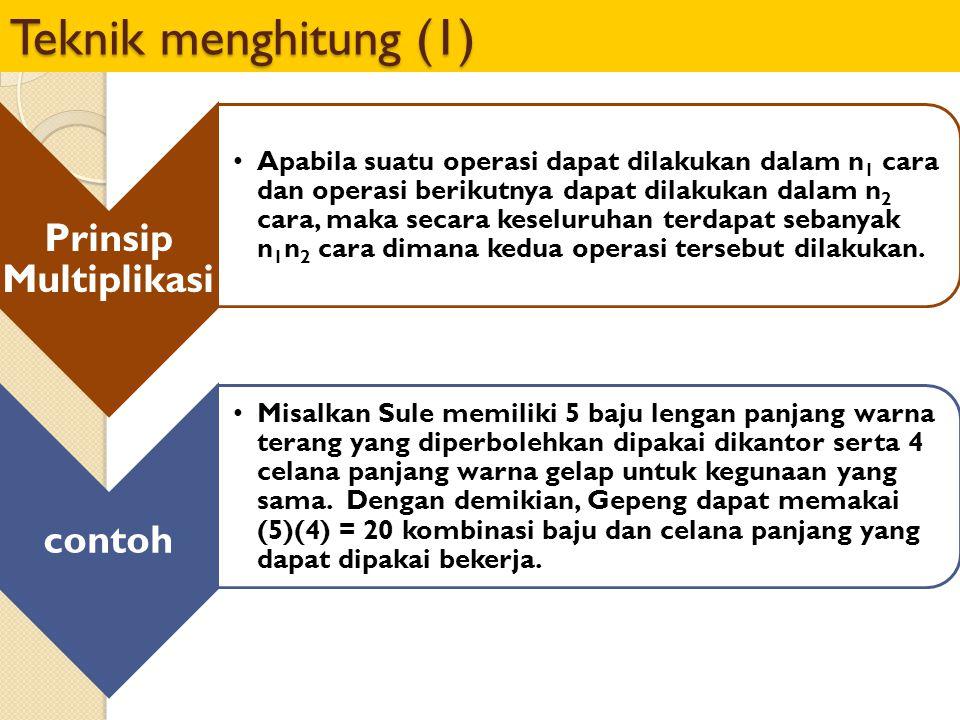 Teknik menghitung (1) Prinsip Multiplikasi Apabila suatu operasi dapat dilakukan dalam n1 cara dan operasi berikutnya dapat dilakukan dalam n2 cara, m