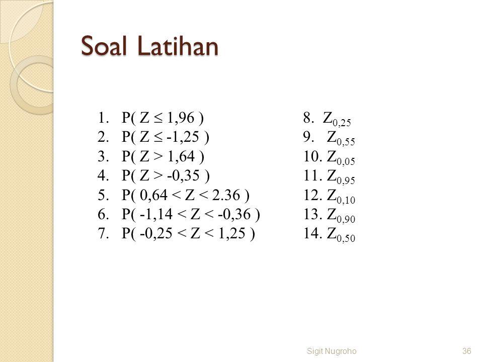 Soal Latihan Sigit Nugroho36 1.P( Z  1,96 ) 2.P( Z  -1,25 ) 3.P( Z > 1,64 ) 4.P( Z > -0,35 ) 5.P( 0,64 < Z < 2.36 ) 6.P( -1,14 < Z < -0,36 ) 7.P( -0