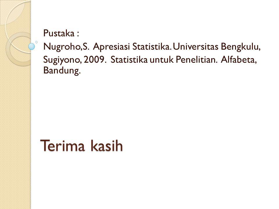 Terima kasih Pustaka : Nugroho,S. Apresiasi Statistika. Universitas Bengkulu, Sugiyono, 2009. Statistika untuk Penelitian. Alfabeta, Bandung.