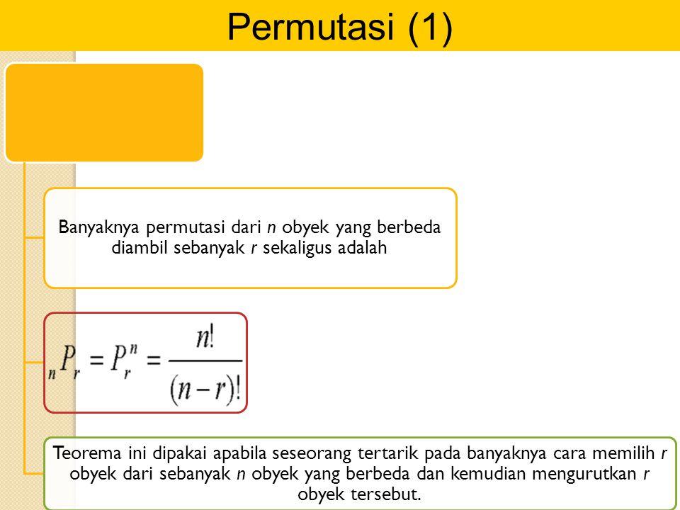 Permutasi (1) Banyaknya permutasi dari n obyek yang berbeda diambil sebanyak r sekaligus adalah Teorema ini dipakai apabila seseorang tertarik pada ba