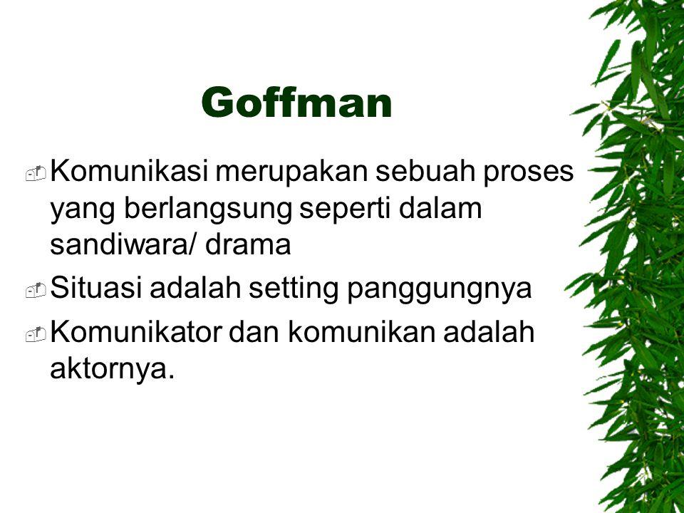 Goffman  Komunikasi merupakan sebuah proses yang berlangsung seperti dalam sandiwara/ drama  Situasi adalah setting panggungnya  Komunikator dan ko
