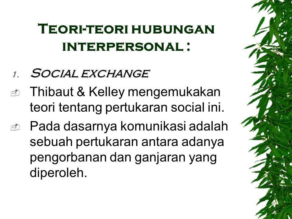 Teori-teori hubungan interpersonal : 1. Social exchange  Thibaut & Kelley mengemukakan teori tentang pertukaran social ini.  Pada dasarnya komunikas
