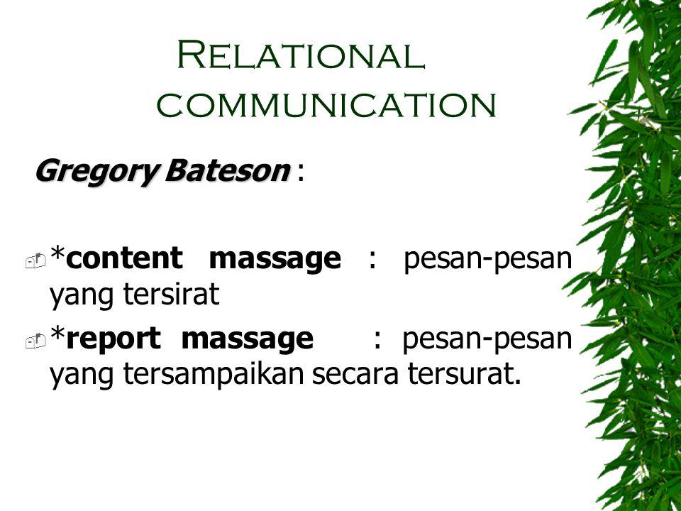 Relational communication Gregory Bateson Gregory Bateson :  *content massage : pesan-pesan yang tersirat  *report massage : pesan-pesan yang tersamp