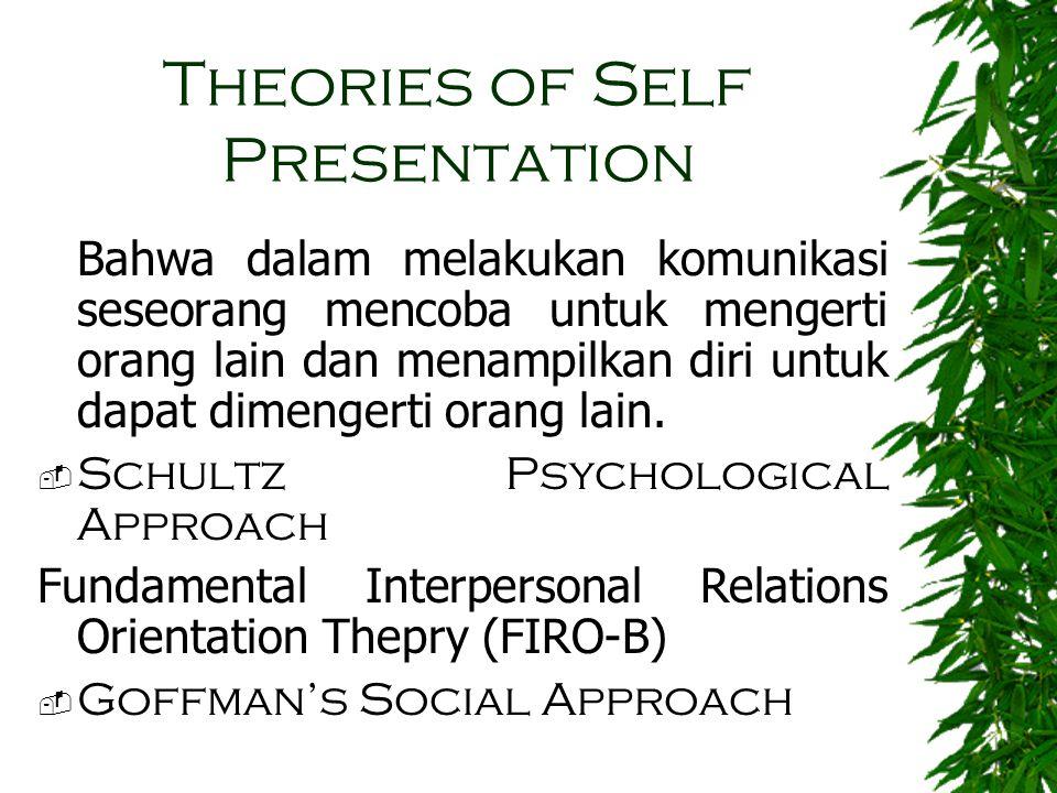 Theories of Self Presentation Bahwa dalam melakukan komunikasi seseorang mencoba untuk mengerti orang lain dan menampilkan diri untuk dapat dimengerti