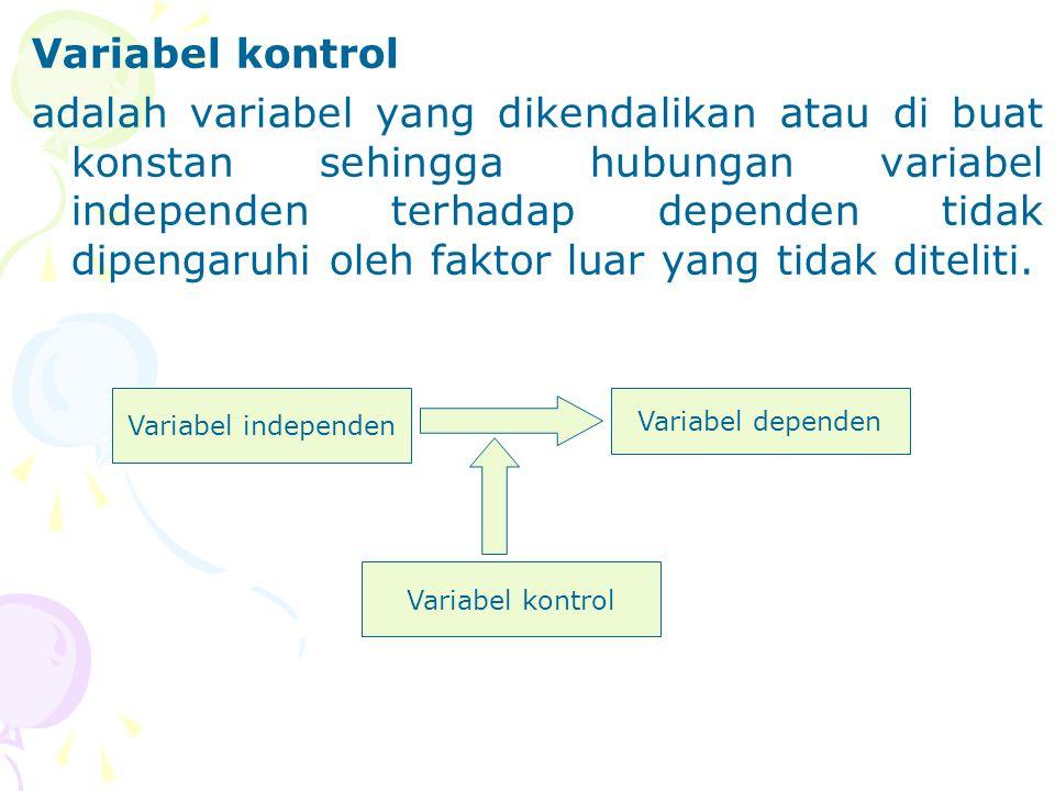 Variabel kontrol adalah variabel yang dikendalikan atau di buat konstan sehingga hubungan variabel independen terhadap dependen tidak dipengaruhi oleh