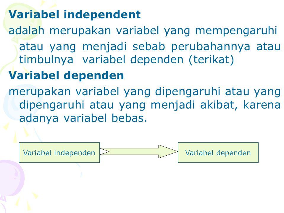 Variabel independent adalah merupakan variabel yang mempengaruhi atau yang menjadi sebab perubahannya atau timbulnya variabel dependen (terikat) Varia
