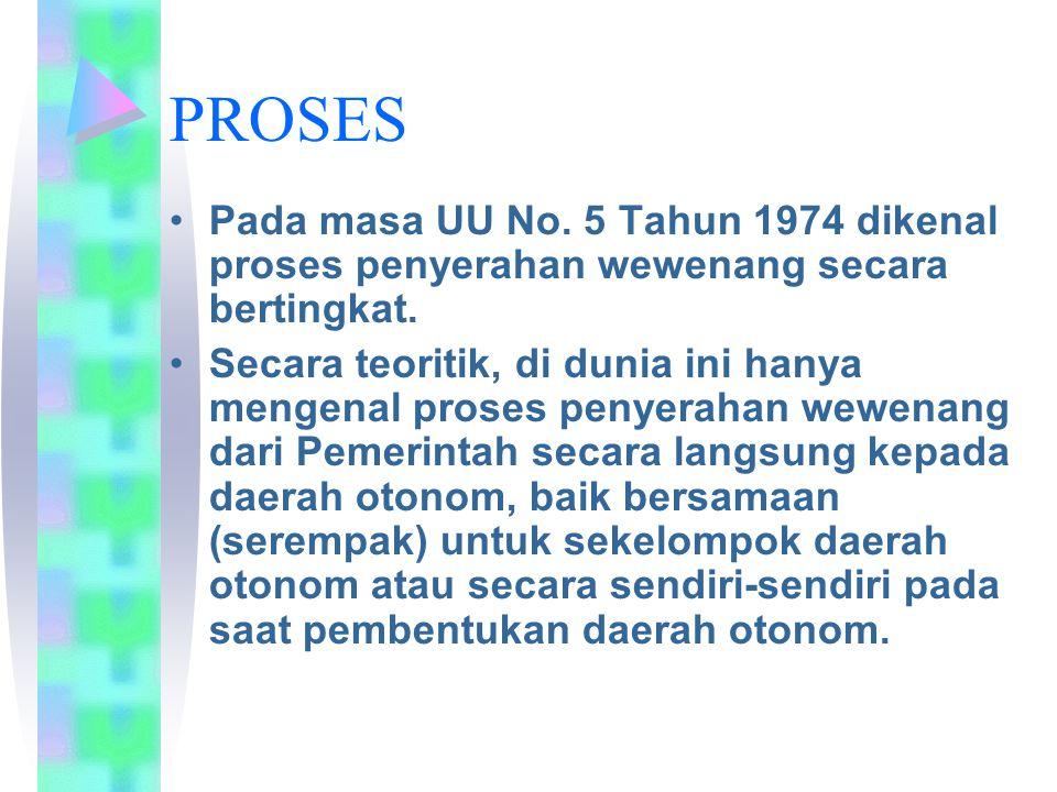 PROSES Pada masa UU No. 5 Tahun 1974 dikenal proses penyerahan wewenang secara bertingkat. Secara teoritik, di dunia ini hanya mengenal proses penyera