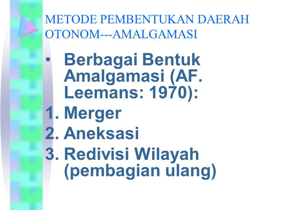 METODE PEMBENTUKAN DAERAH OTONOM---AMALGAMASI Berbagai Bentuk Amalgamasi (AF. Leemans: 1970): 1.Merger 2.Aneksasi 3.Redivisi Wilayah (pembagian ulang)