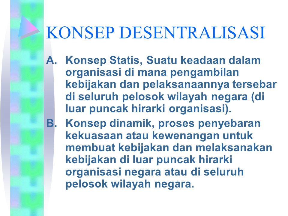 KONSEP DESENTRALISASI A.Konsep Statis, Suatu keadaan dalam organisasi di mana pengambilan kebijakan dan pelaksanaannya tersebar di seluruh pelosok wilayah negara (di luar puncak hirarki organisasi).