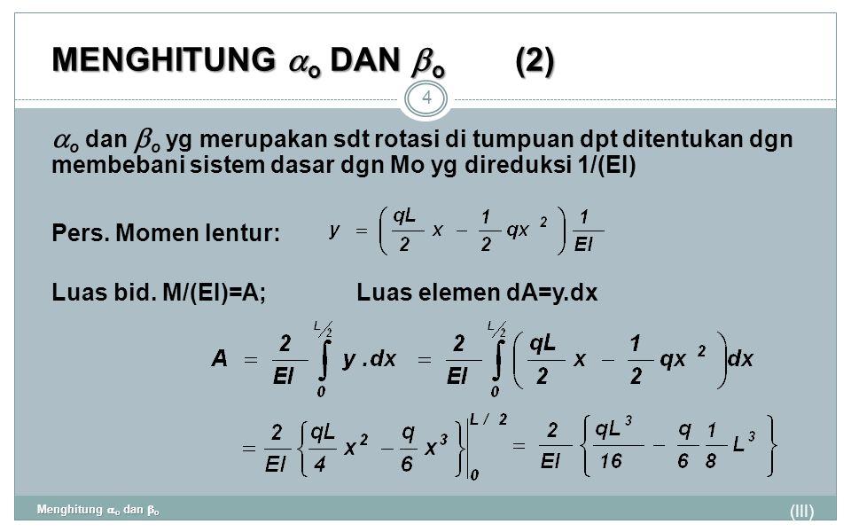 MENGHITUNG  o DAN  o (2) (III) Menghitung  o dan  o 4  o dan  o yg merupakan sdt rotasi di tumpuan dpt ditentukan dgn membebani sistem dasar dgn