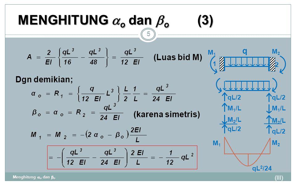 MENGHITUNG  o dan  o (3) (III) Menghitung  o dan  o 5 Dgn demikian; (Luas bid M) (karena simetris) q 1 2 M2M2 M1M1 qL/2 M 1 /L M 2 /L M2M2 M1M1 qL