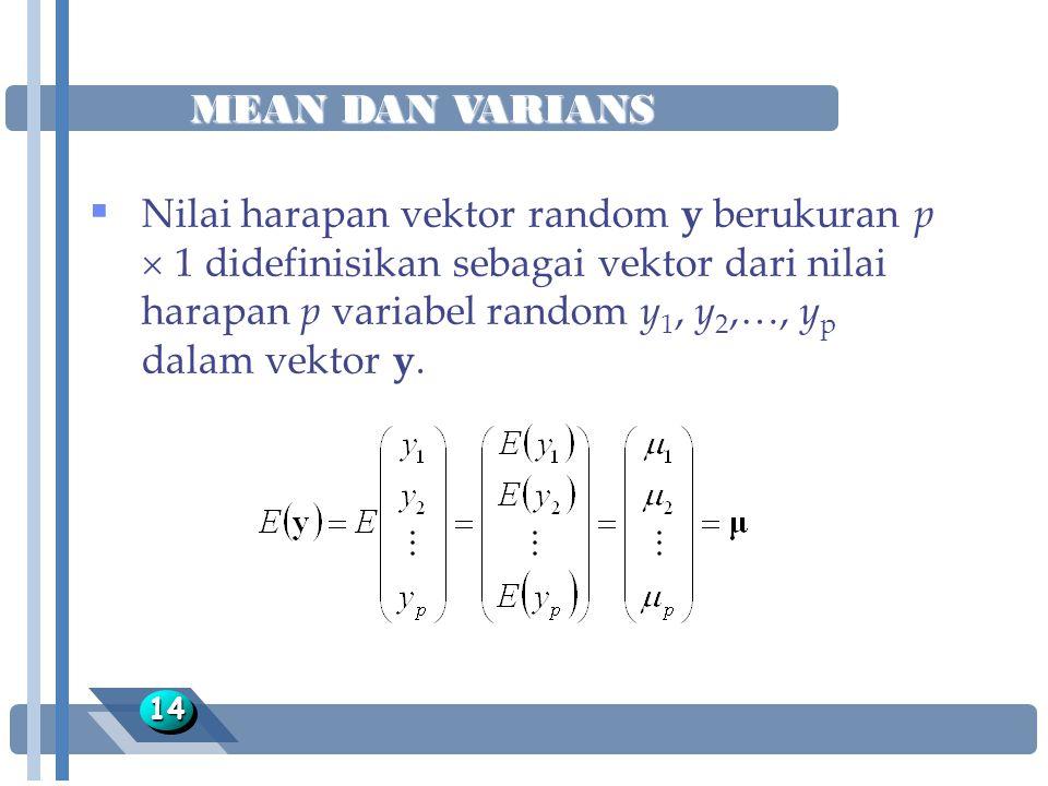 MEAN DAN VARIANS 1414  Nilai harapan vektor random y berukuran p  1 didefinisikan sebagai vektor dari nilai harapan p variabel random y 1, y 2,…, y