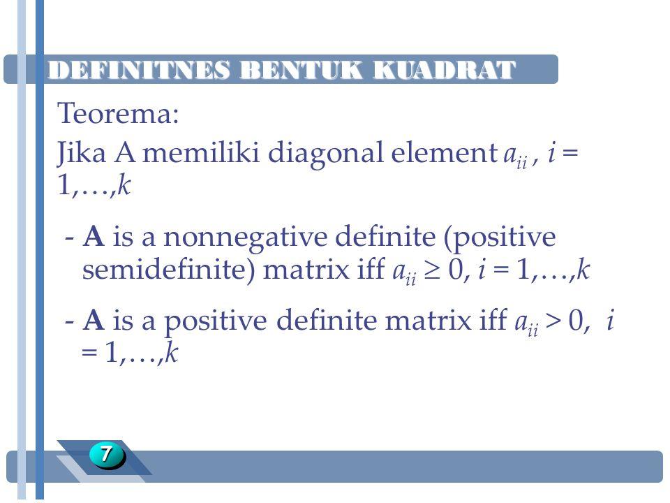 DEFINITNES BENTUK KUADRAT 88 Teorema: Jika A memiliki eigenvalues l 1, l 2, …, l k -A is a nonnegative definite (positive semidefinite) matrix iff l i  0, i = 1,…,k -A is a positive definite matrix iff l i > 0, i = 1,…,k