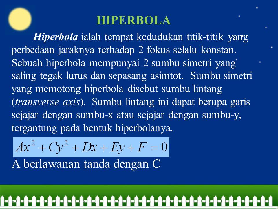 Hiperbola ialah tempat kedudukan titik-titik yang perbedaan jaraknya terhadap 2 fokus selalu konstan. Sebuah hiperbola mempunyai 2 sumbu simetri yang