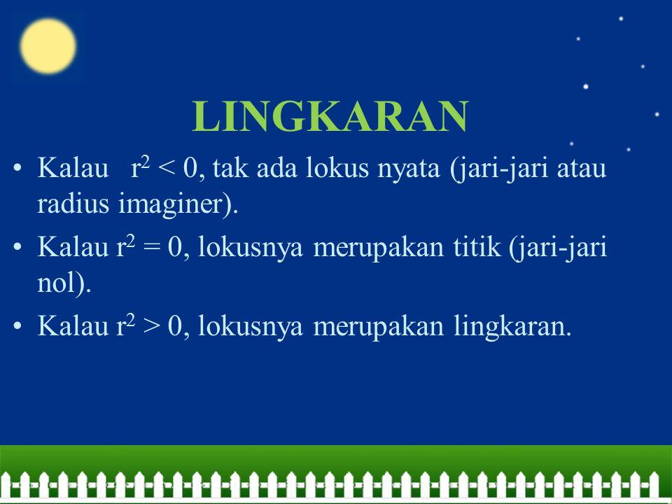 LINGKARAN Kalau r 2 < 0, tak ada lokus nyata (jari-jari atau radius imaginer). Kalau r 2 = 0, lokusnya merupakan titik (jari-jari nol). Kalau r 2 > 0,