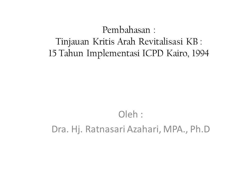 Pembahasan : Tinjauan Kritis Arah Revitalisasi KB : 15 Tahun Implementasi ICPD Kairo, 1994 Oleh : Dra.